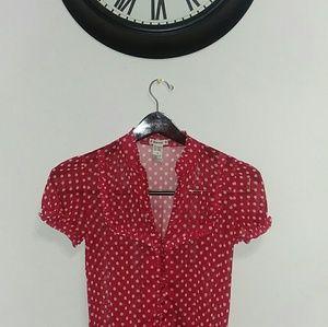 Red poka dot blouse